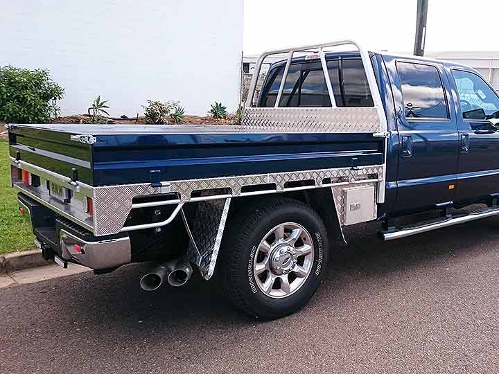 Blue ute with custom fitout