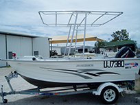 Boat with stainless steel awning fitting