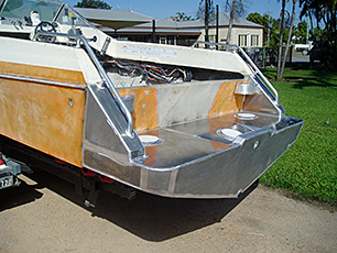 Back of boat with extension