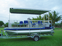 Pontoon boat with chairs
