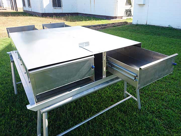 Fabricated tray with drawers by BT Alloy