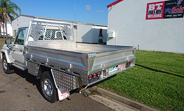 Custom welded decal on ute by BT Alloy